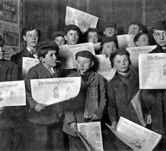 Lewis Hine - February 12,1908. Papers just out. Boys starting out on morning round, New York, 1908