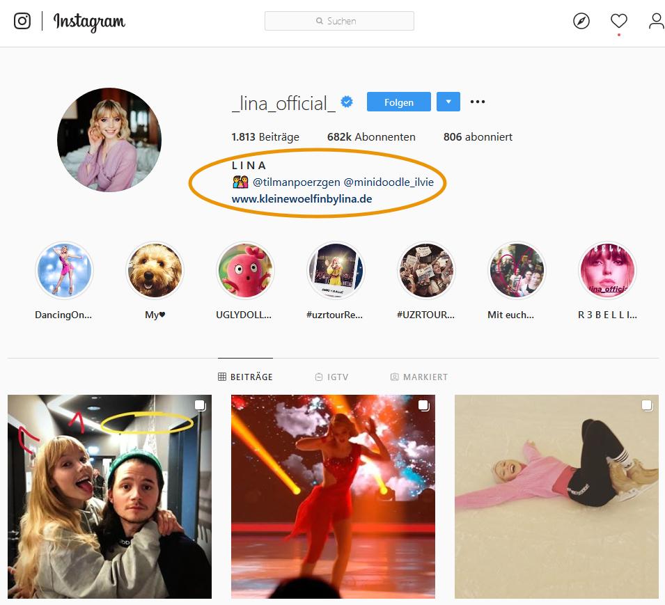 Screenshot des Instagram-Kontos von Lina Larissa Strahl am 20. Februar 2020
