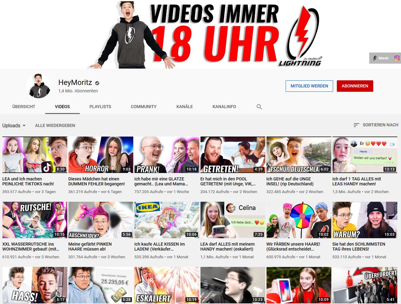 Screenshot vom Youtube- Kanal von Hey Moritz am 20. Februar 2020