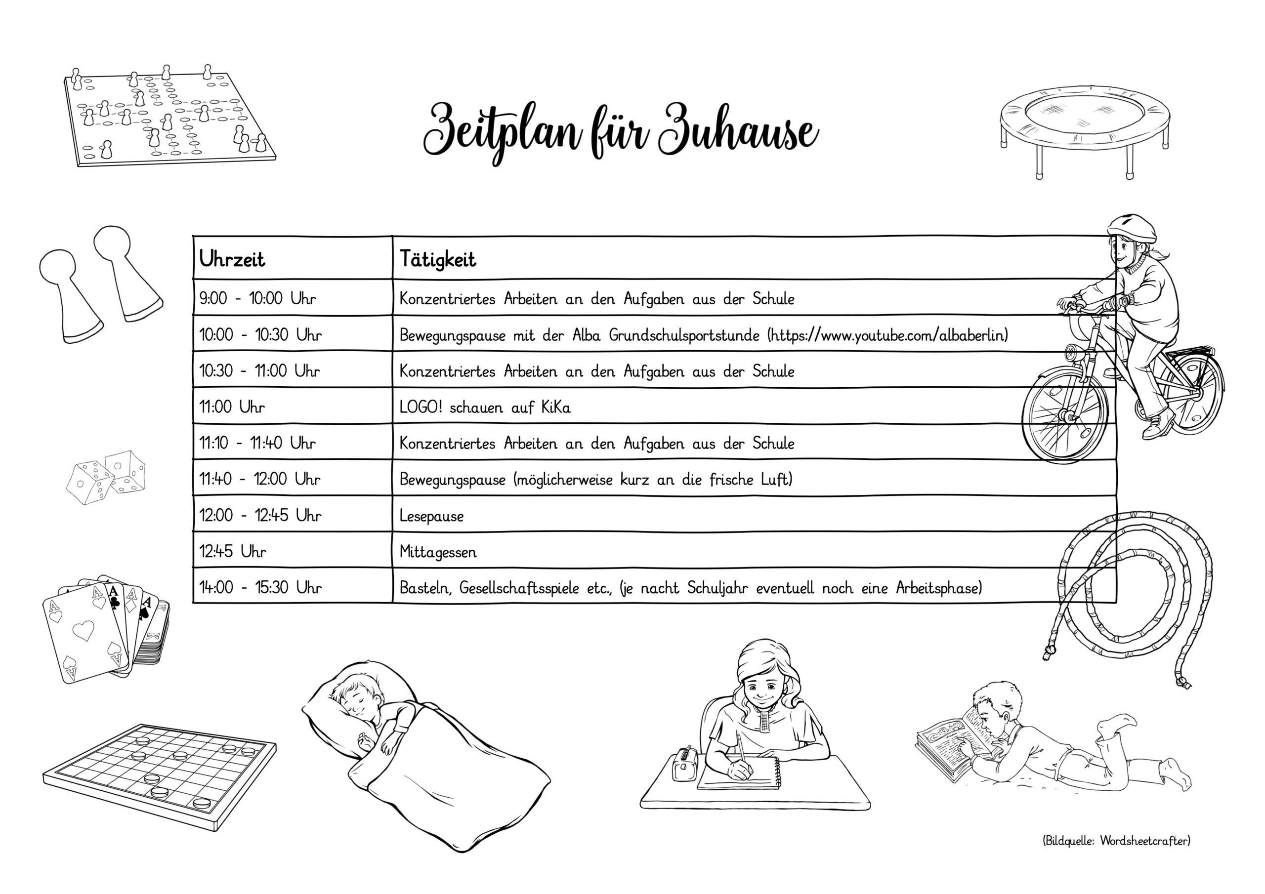 Vorschlag für einen Zeitplan zu Hause