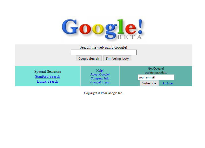 So sah Google im Jahr 1998 aus - Quelle: Webdesign Museum