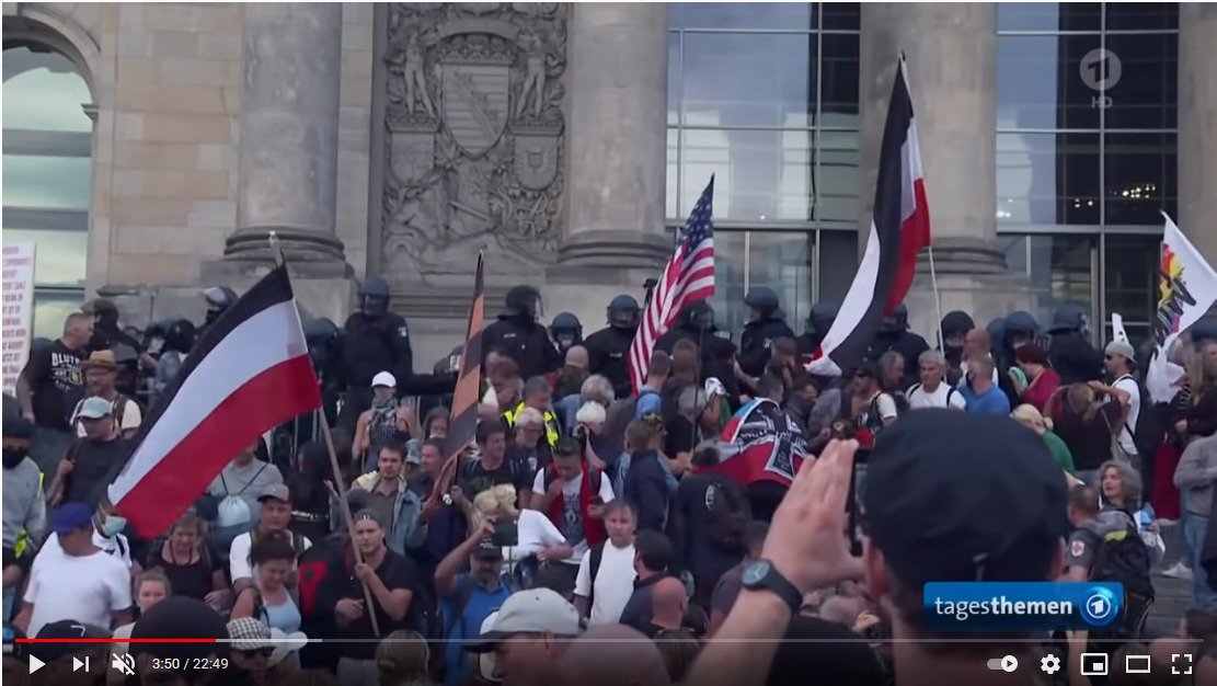 Demo am 29. August in Berlin - Screenshot aus dem Tagesschau, ARD