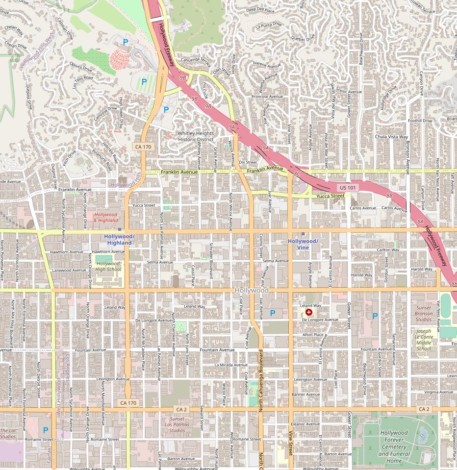 Karte Hollywood aus OpenStreetMap
